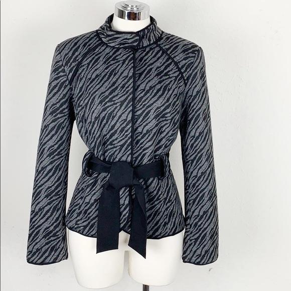 Sandro Sportswear Black Belted Zebra Print Jacket